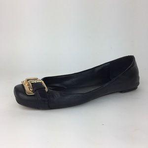 Vine Camuto Black Leather Gold Buckle Ballet Flat